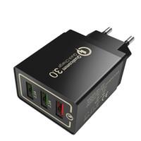Metal 3 USB wall Charging Charger US EU Plug QC3. 0 Power Adapter Wall Charger Plug 3 ports for Iphone Samsung LG