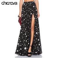 Горячие продажи высокая талия длинные юбки женские плиссированные Звезда печати длина пола шифон сплит юбка FS0277