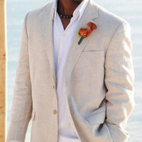 해변 결혼식을위한 빛 베이지 색 리넨 남성 정장 맞춤 2 조각 자켓 바지 주문품 한 벌 신랑 턱시도 남성 패션 WH079 체결