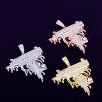 Moda El Holding Damlayan Silah Şekli Kolye erkek Kolye Altın Renk Buzlu Out CZ Taş Kaya Sokak Hip Hop takı
