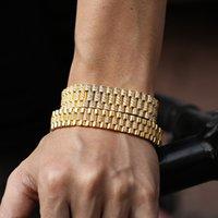 Hip Hop catena CZ lastricata in pietra di Bling fuori ghiacciato Watch Band di collegamento del braccialetto dei braccialetti per gli uomini Rapper gioielli goccia di trasporto dell'oro