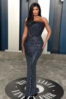 Kylie Jenner Sequins Robes de bal Oscars Bretelles Sans Soie Robes de soirée Plus Taille Occasion Spéciale Partie Vestido de Fiesta Robe de tapis rouge
