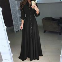 여성 드레스 2019 가을 빈티지 패션 단단한 튜닉 캐주얼 드레스 긴 소매 Vestidos 버튼 레드 화이트 블랙 드레스 여성 브랜드