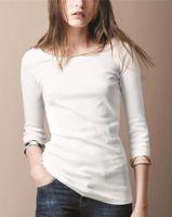 Yeni Tasarım 2019 Yeni Yarım Kollu Pamuk O-Boyun T-shirt Moda Marka Yüksek Kaliteli Ekose Bayanlar T-Shirt Siyah Beyaz Pembe S-XXL