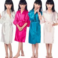 Дети Девушки Шелковый Атлас Короткие Кимоно Халаты Платье Халат Пижамы Пижамы