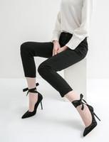 2019 새로운 여성 벨벳 펌프 파티 신발 발목 리본 펌프 발가락 하이힐 결혼식 신발 활주로 레이스 펌프 얇은 뒤꿈치