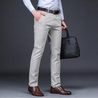 Summer Dress Mens Classic pantaloni neri pantaloni Maschile cotone Etero Fit pantaloni dell'ufficio del vestito pantaloni da lavoro Stretch Uomo Casual