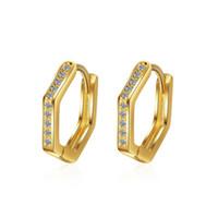 EH371 Clip-on schroef Back Earring Studs Kleine Koreaanse stijl charme vrouwelijke oorbellen mode-sieraden legering zeshoek met wit kristal goud