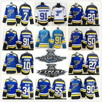 Patch des Champions de la Coupe Stanley 2019 St. Louis Blues 55 Colton Parayko 90 Ryan O'Reilly 17 Schwartz Pietrangelo Tarasenko 50 Chandails Binnington