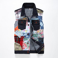 dos homens Venda Nova Patchwork Hot Denim Vest Jeans Casual coreano Moda Mens Slim Fit Mixed Denim Jackets Vest Masculina Coats