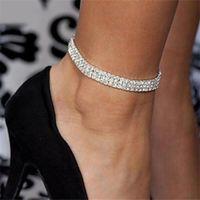 Nuovo cristallo all'ingrosso di strass tennis caviglia catena braccialetto alla caviglia SEXY donne estate spiaggia di sabbia gioielli 3 righe