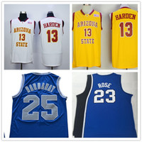 NCAA # 13 James Harden Arizona State Sun Devils # 25 Penny Hardaway Memphis State Tigers # 23 Derrick Rose College Basketball maglie cucita