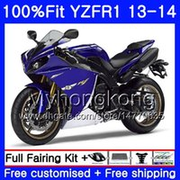 Corpo de injeção para YAMA YZF 1000 YZF R 1 YZF1000 YZF R1 13 14 242HM.36 YZF-1000 YZF-R1 YZFR1 2013 2014 Carenagem Completa Kit azul escuro estoque