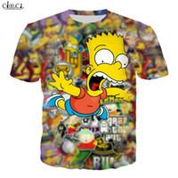 Мультфильм Аниме The Simpsons Футболка Мужчины Женщины 3D печати Барт Симпсон с коротким рукавом Harajuku Пары плюс размер Мода Tops