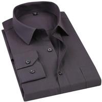 Camicia elegante nuova camicia da uomo 2019 tinta unita Plus Size 8xl Camicia elegante nera manica lunga da uomo business chemise Homme nero grigio blu