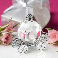 50PCS de cristal de Cenicienta Coche de la calabaza en la ducha de plata caja de regalo del bebé de los favores de cristal del carro recién nacido regalo del bautizo GOTA de SHPPING