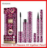 2019 Nouveau Maquillage des yeux YANQINA 4D Mascara 2 en 1 Mascara Eyeliner 3D EPAISSE CURL 36H Traceur liquide 10g longue durée Allongement imperméable