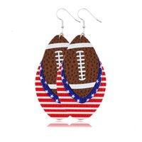 2020 neue Art und Weise Independence Day Frauen baumeln Ohrringe Schmuck Geschenke Baseball Fußball Softball-Sport PU-Leder-amerikanische Flagge Ohrringe