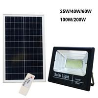 Свет солнечных наводнений 25 Вт 40 Вт 60 Вт 100 Вт 200 Вт прожектор дворной лампы IP66 белый авто светодиодный солнечный фонарь с паннелкой Открытый для садового парка гаража