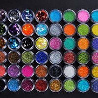 48pcs Körper-Funkeln-Puder für Augen-Körper-Kunst-Dekoration Mix Glitter Ultrafein Nail Art Glitter Bunte Staub-Puder-Make-up