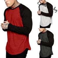 رجل جديد الخريف عادية تي شيرت أزياء فضفاضة كم طويل الرقبة O-T قميص المرقعة تيز القمم زائد الحجم M-3XL