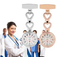 Silber / Rose Gold Edelstahl-Krankenschwester-Uhr Medizinische Herz-Blumen-Diamant-Design Doktor Fob-Quarz-Taschen-Uhren Medical Anhänger Uhren