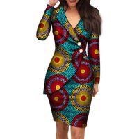 여성을위한 가을 아프리카 드레스 패션 사무실 스타일 V 넥 긴 소매 미디 드레스 Bazin Riche African 인쇄 의류 WY4052