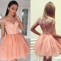 2019 Blush Rosa Pizzo Prom Dress Dress Sexy Breve Cocktail Serata Abiti da abbronzatura Partito formale Pageant Ball Gown Personalizzato Made BC1579