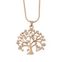 Arbre de vie Collier Femme collier pendentif en cristal strass charme Collier tendance Noël Bijoux cadeau à longue chaîne Bijoux Colliers