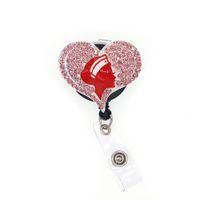 bling rosa strass infermiera angelo Medical symbol bobina del distintivo Con Alligator infermieristico clip del supporto RN retrattile ID Badge Reel