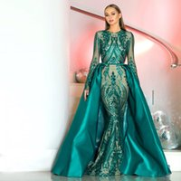 Long Sleeve 2 Pieces Gown in Emerald Green Prom Dress Style ...