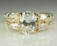 Luxe cristal 18k or jaune massif plaqué Zircon pierres précieuses Bague amoureux de mariage de fiançailles en or deux Ring, Livraison gratuite en gros WL1058