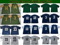 Mens 12 Ian Book 3 Joe Montana 14 DeShone Kizer 33 Josh Adams College Football Maillots