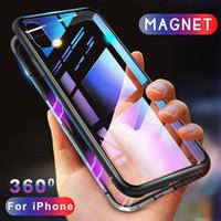 iPhone XS 용 Max XR 자기 흡착 금속 범퍼 강화 유리 뒷면 커버 케이스 30pcs / up