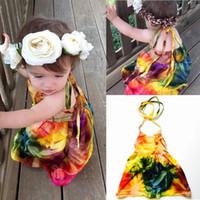 Crianças bebê menina princesa vestido sem mangas bowknot backless halter vestidos roupas