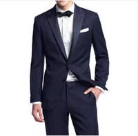 Custom Made Groomsmen Navy Blue Groom Tuxedos Peak Lapel Men Suits Wedding Prom Best Man Blazer ( Jacket+Pants+Tie) ZQ