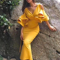 Повседневные платья простые элегантные холодные плечо Flare рукав женские платья сексуальные V-образные шеи Bodycon Slim дамы вечеринка лето плюс размер MIDI
