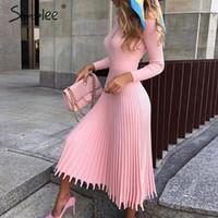 Simplee Solide striped Strickkleid Frauen Oansatz Langarm elegante bodycon Kleid Weibliche Farbe Plissee Herbst winter sexy Kleid Y200418