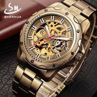 Verhalten Mann Freizeit Bronze aushöhlen vollautomatische Mechanik Armbanduhr