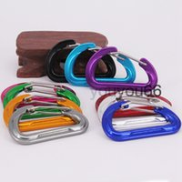 D shape Carabiner Keyrings Key Chain Outdoor Sports Camp Snap Clip Hook Keychains Aluminum Metal Stainless Steel Hiking Camping 37*60MM