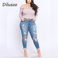 Dilusoo Women Holes Plus Size Jeans Pants High Elastic Skinny Pencil Pants Denim Jeans Woman Casual Spring Size 2-7XL Trousers