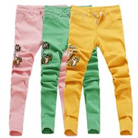 2019 New Fashion Jeans Hommes Ripped Broderie Skinny Pantalons Homme Printemps Eté Pants Demin rose jaune vert Plus Sizer CX200701
