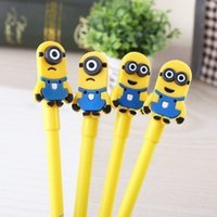 Dibujos animados lindos Kawaii Minions Pen Black 0.5mm Gel Pen Como regalo para estudiantes de niños al por mayor