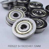 cuscinetto F635ZZ 5 * 19 (22) * 6 (1,5) cuscinetti MM flangia 635 F635Z F635ZZ acciaio cromato cuscinetto profondo della scanalatura