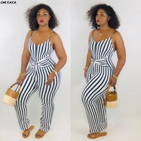 2019 neue Frauen Streifen spaghetti Strap tie up Taille sleeveless lange Overall casual klassische Sommer Strampler Overall 2 Farbe LM8050