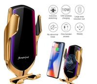 R1 intelligente automatische Spann Auto Wireless-Ladegerät für IPhone X XR XS 8 Plus Galaxy S10 S9 Fast Charge Lüftungsschacht Mount-Telefon-Halter + Box