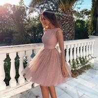 Dusty Rosa Neue Arabeske Abiballkleider mit Pailletten SpitzeAppliques Lange Ärmel Kurze Abendkleider Backless Cocktailparty-Kleider
