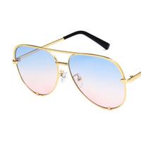 Novo estilo retro homens e mulheres sapo espelho óculos de sol de metal duplo feixe óculos de sol