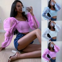 Mulheres Slim Fit Cropped Tops Sheer T casual t-shirts de malha de manga Puff Blusa