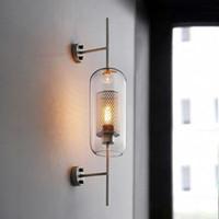 현대 벽 조명 투명 유리 음영 Scones 벽 램프 침실 Bedsides 레스토랑 연구 교수형 램프 로프트 복고풍 철의 비품